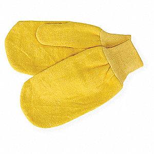 Fleece Chore Mittens, Knit Cuff, 16 oz. Fabric Weight, Yellow, L, PR 1