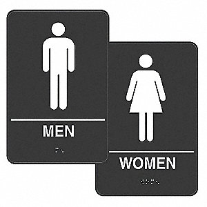 Restroom Signs,9 x 6In,Plastic