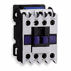 IEC Magnetic Contactor, 120VAC Coil Volts, 9 Full Load Amps-Inductive, 1NO Auxiliary Contact Form