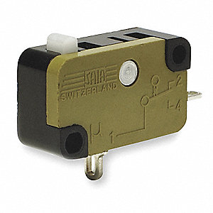 Miniature Snap Action Switch, SPDT Contact Form, 125/250VAC Voltage Rating, 15A Current Rating