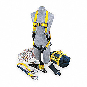 Yellow/Blue, Universal Size Roofers Harness Kit, 310 lb. Weight Capacity, Pass-Thru Leg Strap Buckle