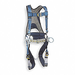 Full Body Harness,L,420 lb.,Blue/Gray