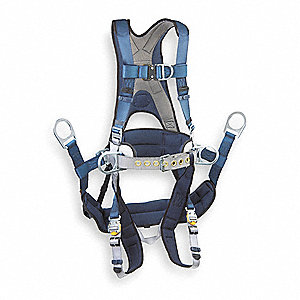 L Tower Climbing Full Body Harness, 6000 lb. Tensile Strength, 420 lb. Weight Capacity, Blue/Gray