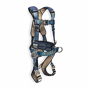 L Construction Full Body Harness, 6000 lb. Tensile Strength, 420 lb. Weight Capacity, Blue/Gray