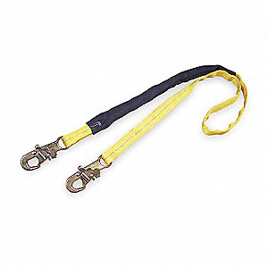 Tie Back Shock-Absorbing Lanyard, Number of Legs: 1, Working Length: 6 ft., Harness Hook Type: Snap