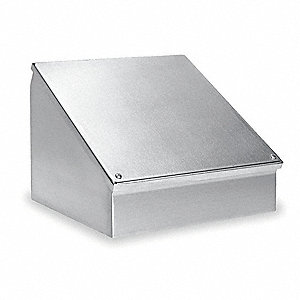 "16""H x 16""W x 11""D Metallic Sloped Top Enclosure, Gray, Knockouts: No, Screws Closure Method"