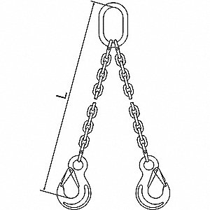 5 ft. Oblong, Sling Hook Chain Sling, Grade 120 Alloy Steel , Number of Sling Legs: 2
