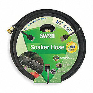Water Hose,Rcycld Rubr,1/2 In ID,50 ft L