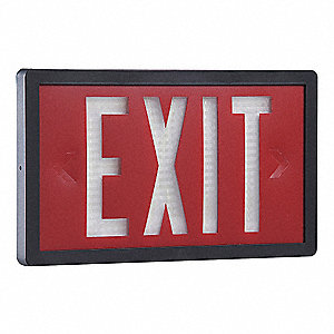 ABS Self-Luminous Exit Sign, Red Background Color, 10 yr. Life Expectancy
