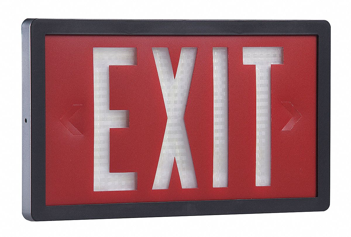 1 Face Self-Luminous Exit Sign, Red Background Color, Black Frame Color, 20 yr Life Expectancy