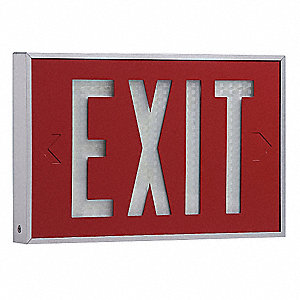 Aluminum Self-Luminous Exit Sign, Red Background Color, 10 yr. Life Expectancy