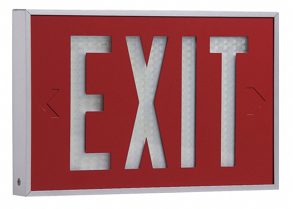 Isolite 1 Face Self Luminous Exit Sign Red Background Color White Frame Color 10 Yr Life Expectancy 2vde4 2040 01 10 R Grainger