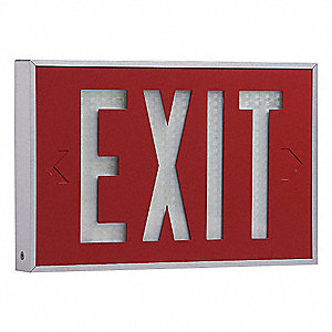 Aluminum Self-Luminous Exit Sign, Red Background Color, 20 yr. Life Expectancy