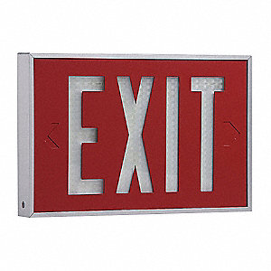 Self-Luminous Exit Sign,10 yr.,2 Face