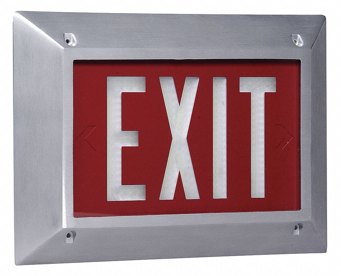 1 Face Self-Luminous Exit Sign, Red Background Color, White Frame Color, 10 yr Life Expectancy