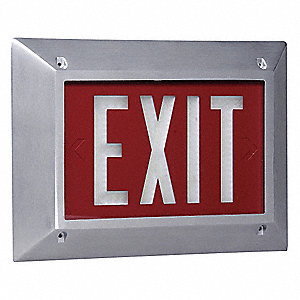 Cast Aluminum Self-Luminous Exit Sign, Red Background Color, 10 yr. Life Expectancy