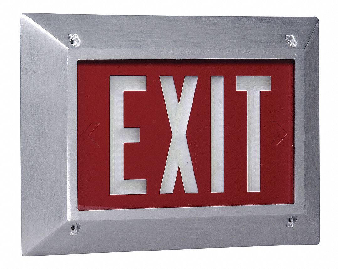 1 Face Self-Luminous Exit Sign, Red Background Color, White Frame Color, 20 yr Life Expectancy