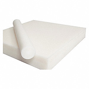 "Sheet Stock, Acetal Copolymer, 12""L x 12""W x  0.375"" Thick, 180 Max. Temp. (F), White"