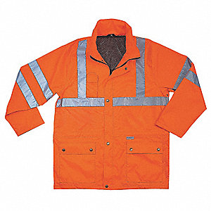 "Men's Hi-Visibility Orange Polyester Rain Jacket with Hood, Size 4XL, Fits Chest Size 58"" to 60"", 38"
