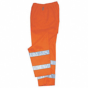 Rain Pants, Breathable, Hi-Vis Orange,XL