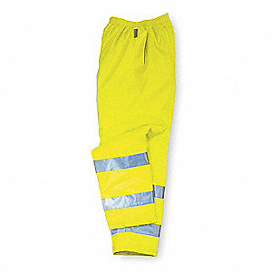 Rain Pants, Breathable, Hi-Vis  Lime, L