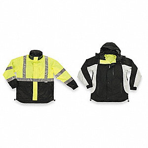 Men's Hi-Visibility Lime/Black, Black and Gray Nylon Hi-Visibility Rain Jacket with Hood, Size 4XL,