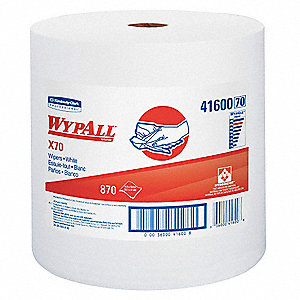 White Hydroknit(R) Wypall Wiper Rolls, Number of Sheets 870