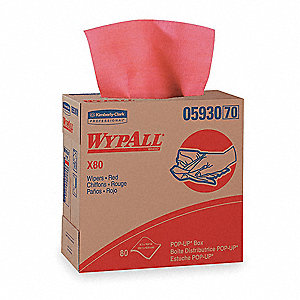 "Hydroknit(R) Disposable Wipes, 80 Ct. 9-1/10"" x 16-4/5"" Sheets, Red"