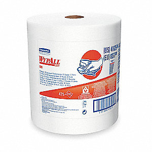 White Hydroknit(R) Wypall Wiper Rolls, Number of Sheets 475