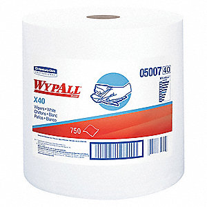 "DRC (Double Re-Creped) Wiper Roll, 750 Ct. 12-1/2"" x 13-2/5"" Sheets, White"