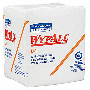 White DRC (Double Re-Creped) Disposable Wipes, Number of Sheets 56, Package Quantity 18