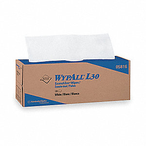 White DRC (Double Re-Creped) Disposable Wipes, Number of Sheets 120
