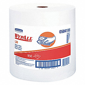 "DRC (Double Re-Creped) Wiper Roll, 950 Ct. 13-3/10"" x 12-2/5"" Sheets, White"