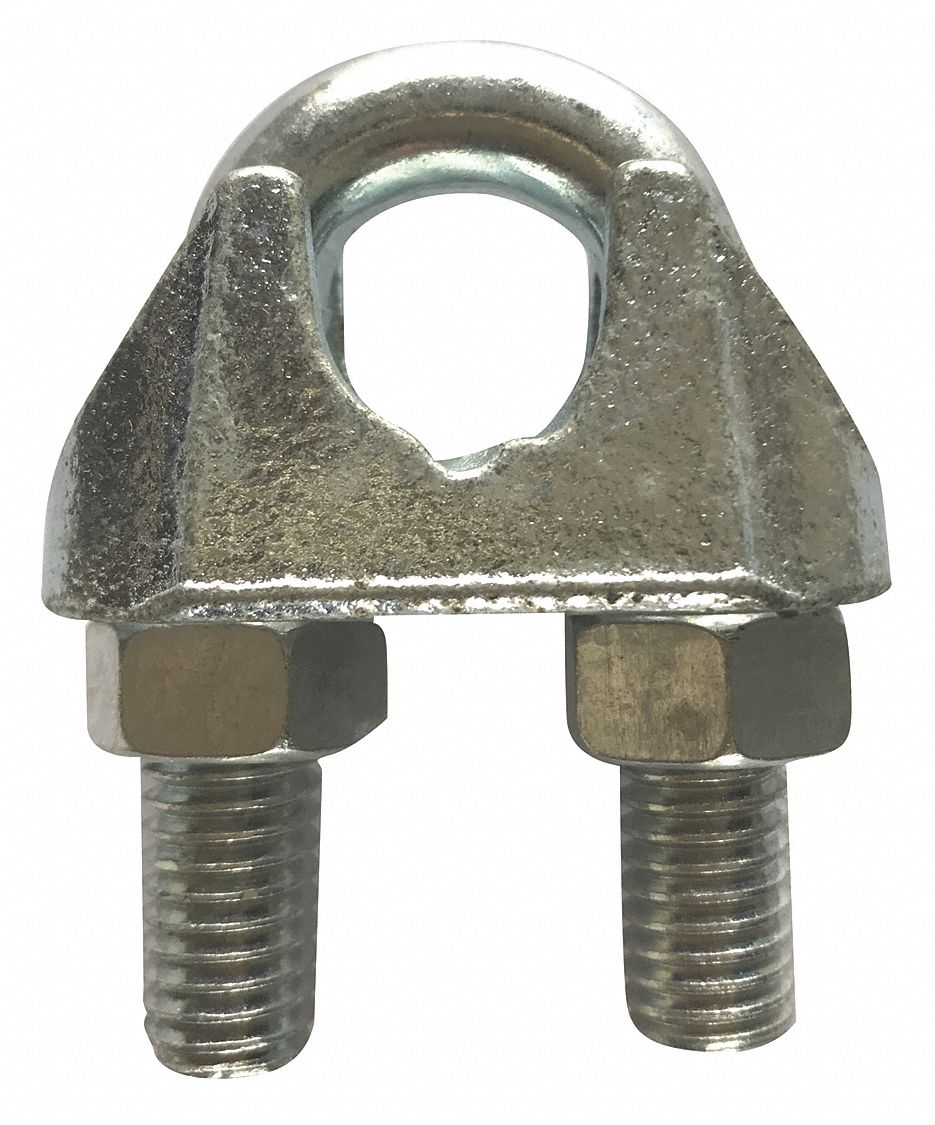 Wire Rope Clip,  U-Bolt,  Maleable Iron,  1/8 in For Wire Rope Dia.,  3 1/4 in Rope Turn Back