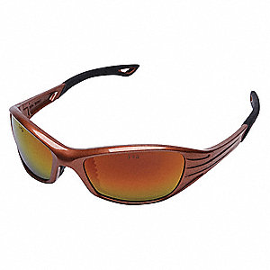 Heat™ Scratch-Resistant Safety Glasses, Red Mirror Lens Color
