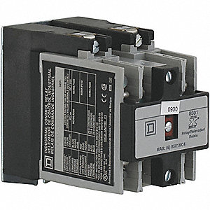 2NO Master NEMA Control Relay, 20A, 240VAC, Panel Mounting