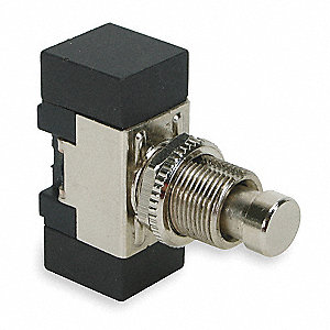 SPST Miniature Push Button Switch, On/Momentary Off with Screw Terminals