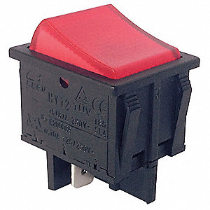 "Lighted Rocker Switch, Contact Form: DPST, Number of Connections: 4, Terminals: 0.250"" Quick Connect"