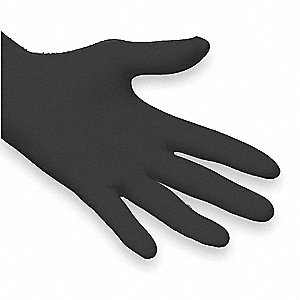 "9-1/2"" Powder Free Unlined Textured Nitrile Disposable Gloves, Black, Size M, 100PK"