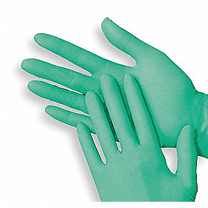 "9"" Powder Free Unlined Vinyl Disposable Gloves, Green, Size  M, 100PK"