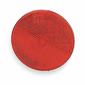 Reflector,Screw-On,Red,Round,Dia 2 In