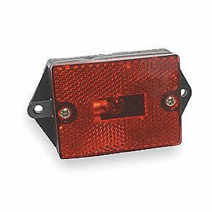 Red Clearance Marker Lamp, A P2, P3, Permanent, Rectangular