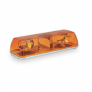Amber Mini Lightbar, Sealed Beam Lamp Type, Permanent Mounting, Number of Heads: 2