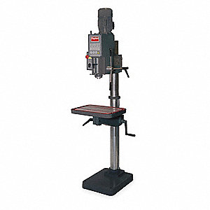 "3/4 to 1 Motor HP Floor Drill Press, Geared Head Drive Type, 20"" Swing, 120 Voltage"