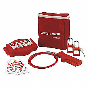 Portable Lockout Kit, Filled, Electrical/Valve Lockout, Pouch, Red