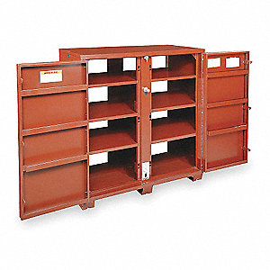 "Brown Jobsite Storage Cabinet, Width: 60-1/8"", Depth: 32-1/4"", Height: 60-3/4"", Storage Capacity: 63"