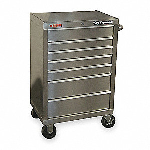 "Silver Rolling Cabinet, Width: 27"", Depth: 18"", Height: 41"""