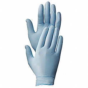Disposable Gloves, Nitrile, Powder Free, Size: L, Color: Blue, PK 100