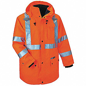 Hooded Jacket,Insulated,Orange,3XL