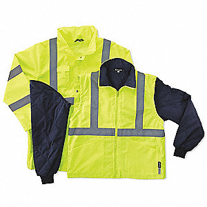 Hooded Jacket,  Insulated, Lime/Black, 5XL